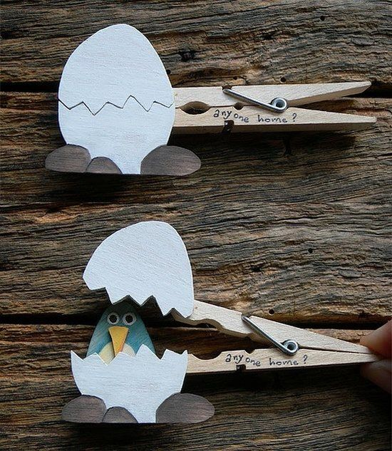 Easter pin.  Adorable bird in egg using clothespin.  Cute toy, decoration or favor. Or put babies face in egg!