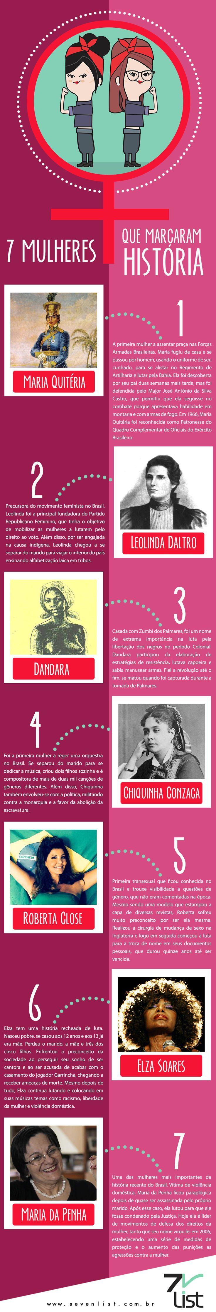 """8 de março, Dia Internacional da Mulher. Uma data onde muitas mulheres recebem homenagens, flores e felicitações por serem """"aquelas que os homens não vivem sem"""". Só para esclarecer, não há problemas com as flores, desde que elas venham acompanhadas de respeito em todos os outros dias. #woman #GirlPower #DiadaMulher #History #MulheresFortes #Respeito #Art #SevenList #Infográfico"""