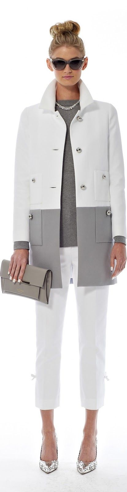 Kate Spade |  Spring 2014 RTW |=Beautiful neutral colour blocking.  To increase wearability, could do coat as removable double layer.