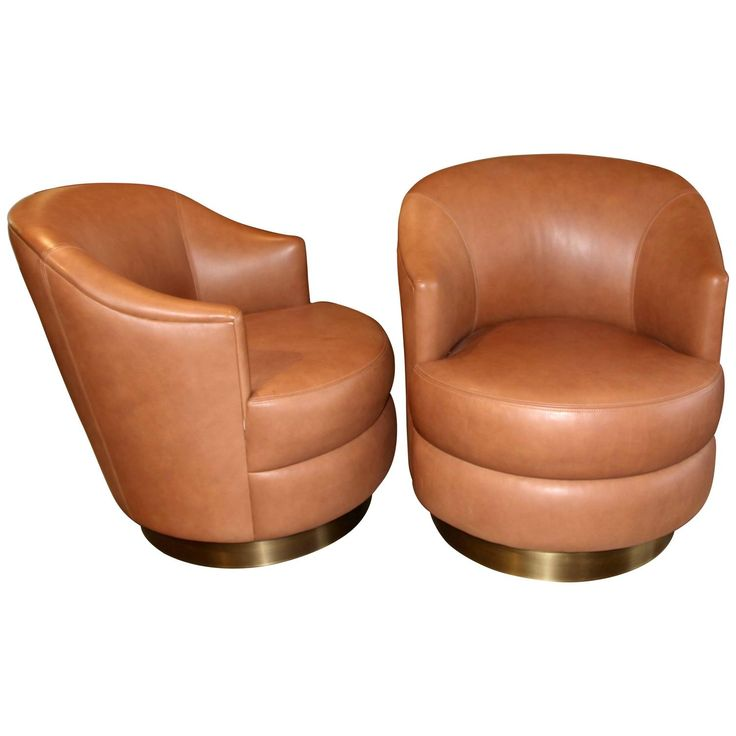 A. Rudin Leather Swivel Chairs with Brass Base Ordered by Steve Chase