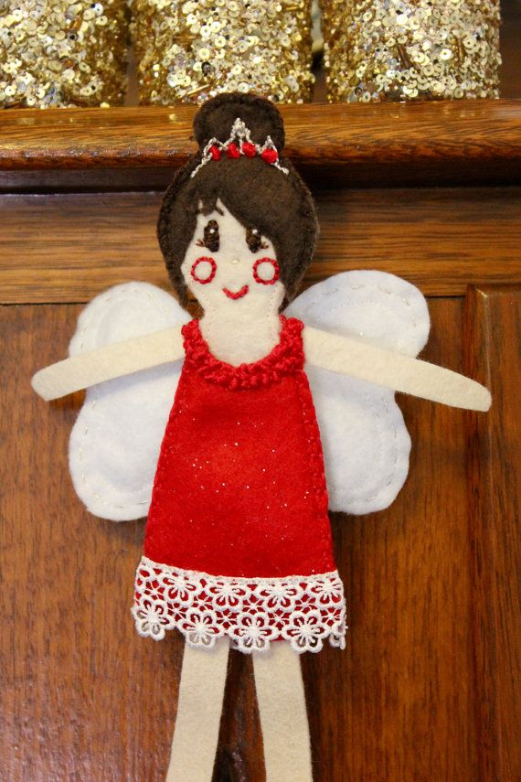 Ruby Christmas Fairy Ornament by PuddleducklaneAgain on Etsy