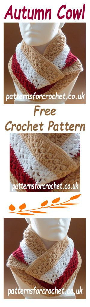 Free crochet pattern for autumn cowl. #crochet