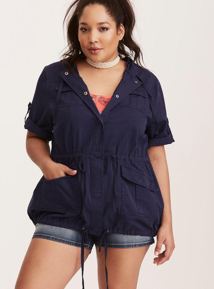 Plus Size Short Sleeve Anorak, PEACOAT