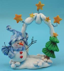Snowman and Christmas Tree Winter Scene-------Love it!!!