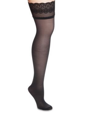 Dkny Women's Sheer Lace Thigh High Tights - Black - 4 Tall Or Long Or Large