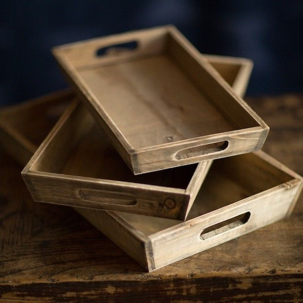 Wooden Serving Trays | Nesting Wood Trays | Wood Trays with Handles