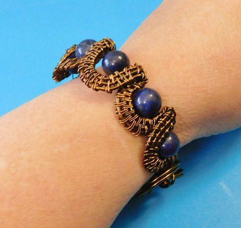 Lapis Lazuli Bracelet Gift, Gemstone Cuff, Girlfriend Gift, Unique Wire Wrap, Hand Woven, Handmade Cuff, Vintage Bronze, Copper Wire, Gem