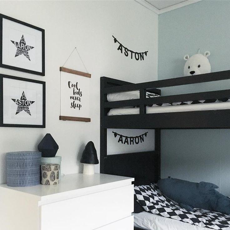 Kidsroom with bunk beds. Wiiks kreativa #barnrum #pojkrum #kidsroom #childrensroom #barnrumsinspo
