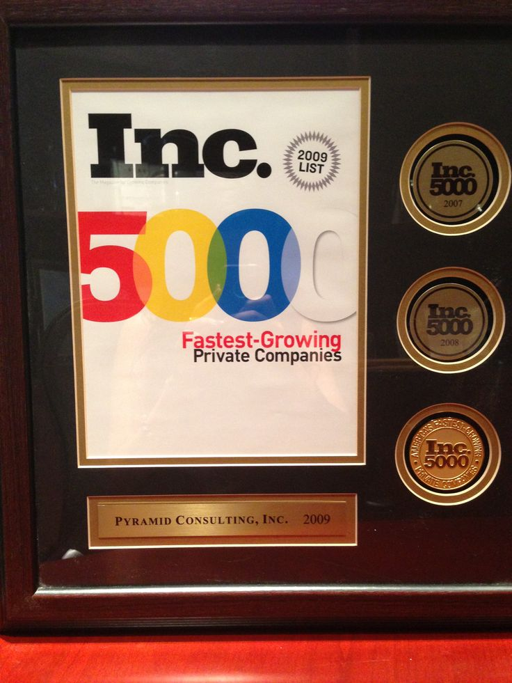 Fastest Growing Private Companies - 2009 In 2009, Pyramid Consulting, Inc. received the rank of 2510 on the Inc. 5000, which celebrates the fastest-growing private companies in America. For more than 27 years, the Inc. 5000 has served as a benchmark for the most innovative, dynamic, and successful companies in the nation. As an Inc. 5000 honoree, Pyramid Consulting is now a member of the most influential business club in America.  http://www.inc.com/profile/pyramid-consulting