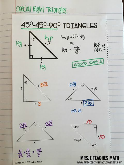 Right Triangles Interactive Notebook Pages
