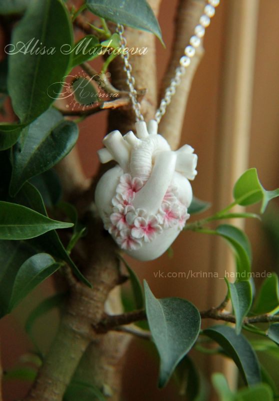 Anatomical heart with sakura flowers pendant by Krinna.deviantart.com on @deviantART