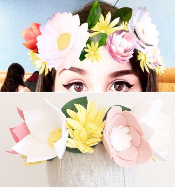 Snapchat Felt Flower Crown Baby/Child/Adult Felt by alisonmichel - #snapchat #snapchatflowercrown #flowercrown