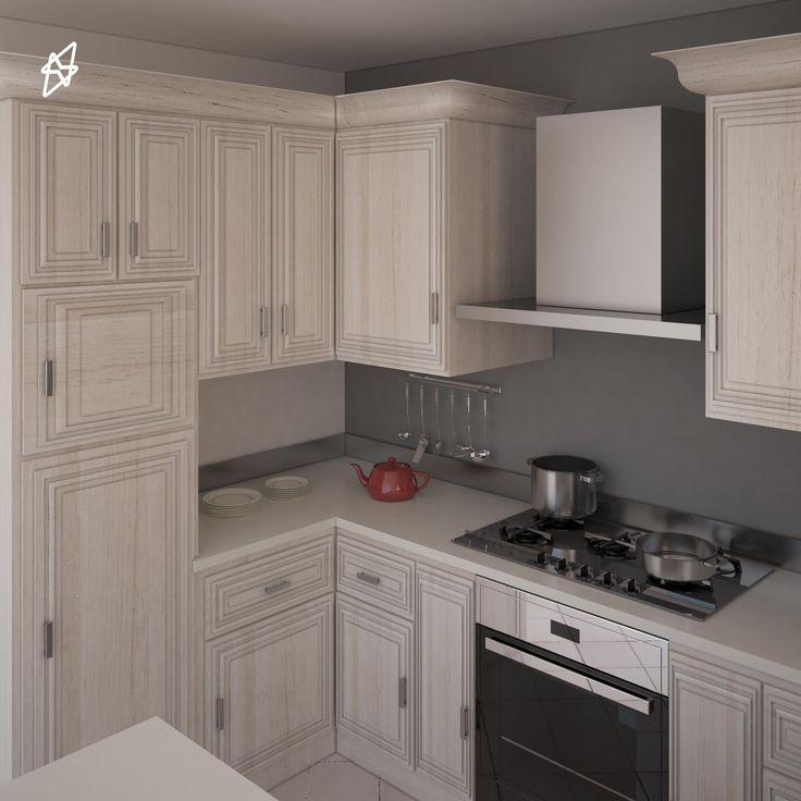 render interno cucina in Legno larice  3D studio max - vray - photoshop
