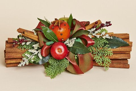 Natural Cinnamon Bundle with Red and Green Apples, Cloved Pomander, Rose Hips and Bay Leaves - From The Colonial Traditions Collection