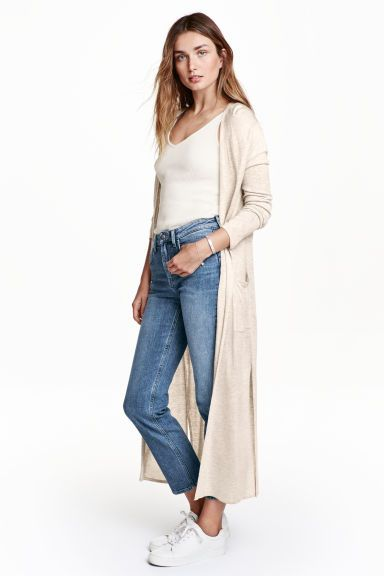 Ankle-length cardigan: Ankle-length cardigan in a soft, fine knit with patch front pockets, high slits in the sides and no buttons.