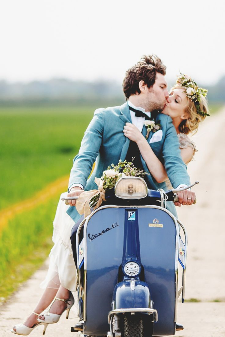 Zipping away on a Vespa! | Claire Pettibone and Flowers In Her Hair – A Spectacular Outdoor Spring Wedding Celebration | Love My Dress® UK Wedding Blog