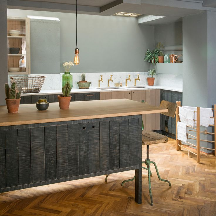 Our amazing new Sebastian Cox basement kitchen in our London showrooms with beautiful parquet floor by our sister company Floors of Stone