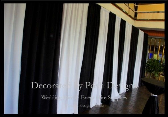 Black and white backdrop / wall draping -   all for hire for your wedding or function. Australia wide. Visit www.poshdesigns.com.au for more photos and info, or email lisa@poshdesigns.com.au for pricing packages.