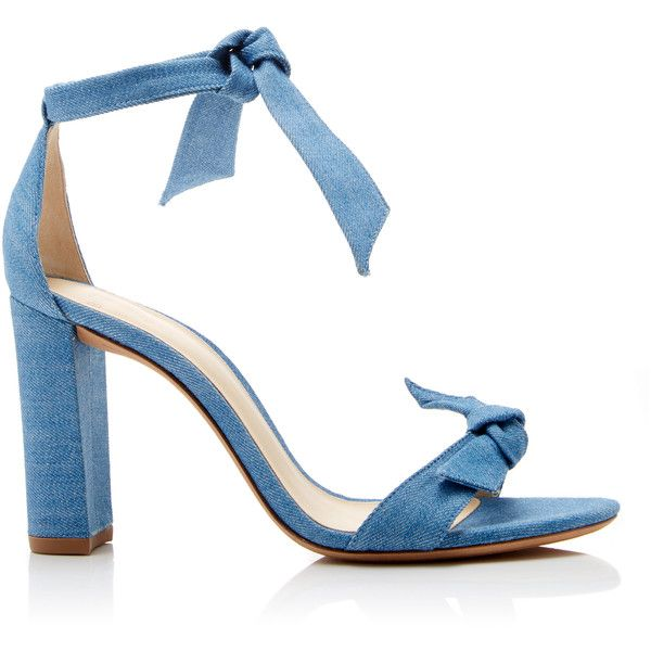 Alexandre Birman Clarita Bow-Embellished Denim Sandals (2.060 RON) ❤ liked on Polyvore featuring shoes, sandals, denim sandals, alexandre birman, denim footwear, blue sandals and bow shoes