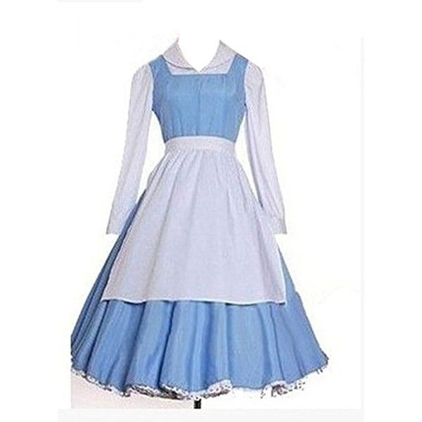 Costumesky Beauty and The Beast Belle cosplay costume ($34) ❤ liked on Polyvore featuring costumes, belle halloween costume, role play costumes, belle costume, cosplay halloween costumes and cosplay costumes