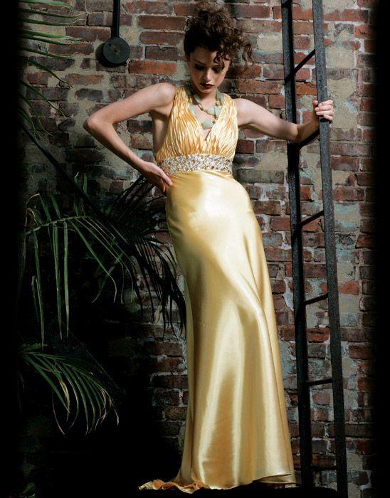 Empire Halter Top Floor Length Satin Beading Ruffles Prom Dress    $252.99