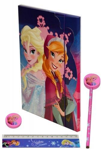 Frozen cartellina porta disegni con elastico a tre lembi copertina sagomata ed effetti glitterati di altissima qualità. La cartellina contiene: 1 matita con gomma sagomata, 1 gomma sagomata, 1 righello 15 cm. il tutto rigorosamente targato Frozen
