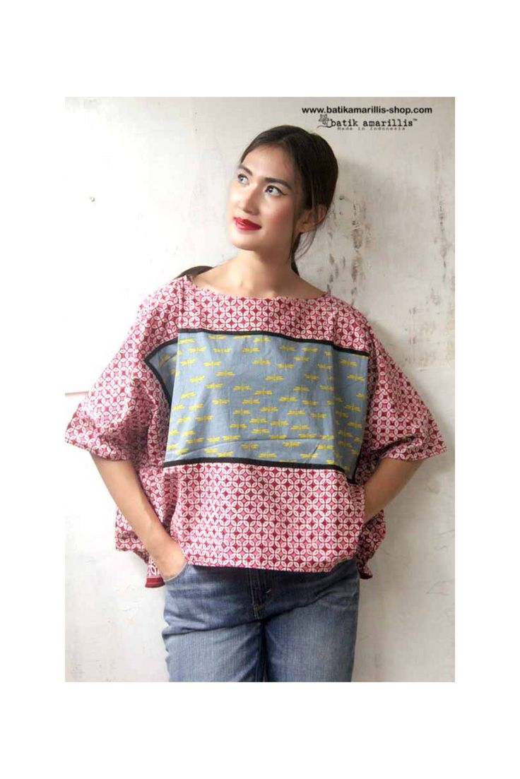 batik amarillis's boxy blouse Cut in a contemporary-cool, boxy silhouette, this provocative oversized is accented with solid panels with adorable frame!