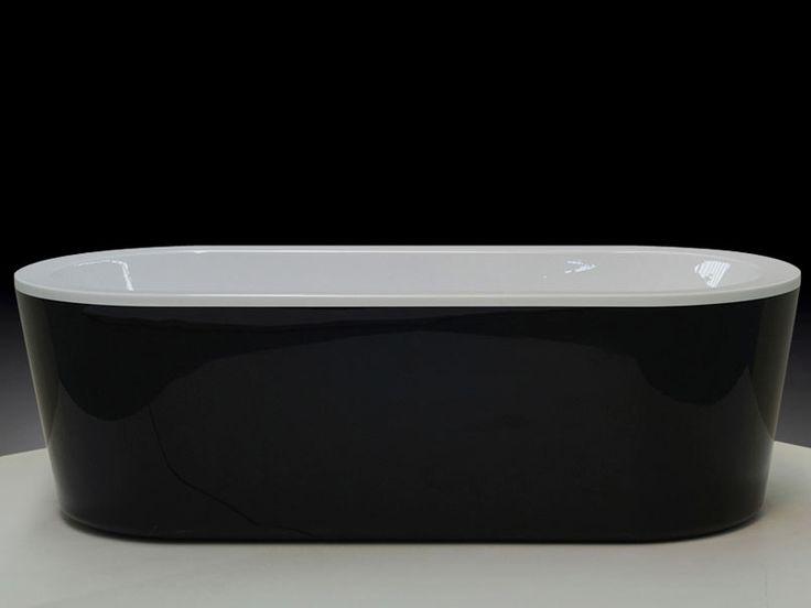 Bathroom+ Free Standing Black Oval Bath 1775mm Pure Acrylic