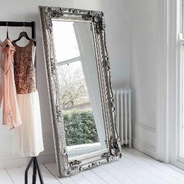 Carved Floor Standing Mirror - Silver - Oversized Leaner | Primrose & Plum