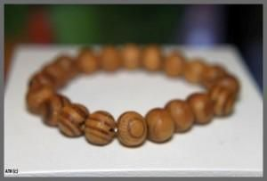 Round Striped Tan Bead Bracelet