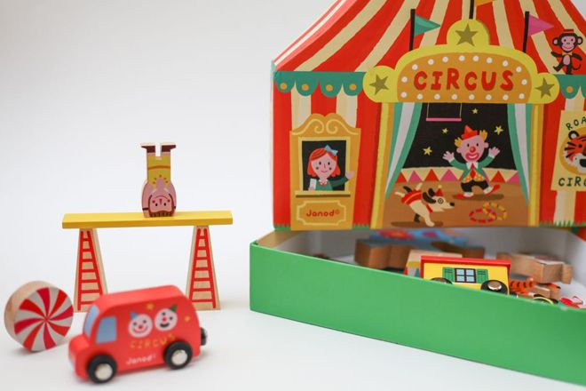 Janod Story Box wooden circus set from Toyella, as featured on Bobby Rabbit