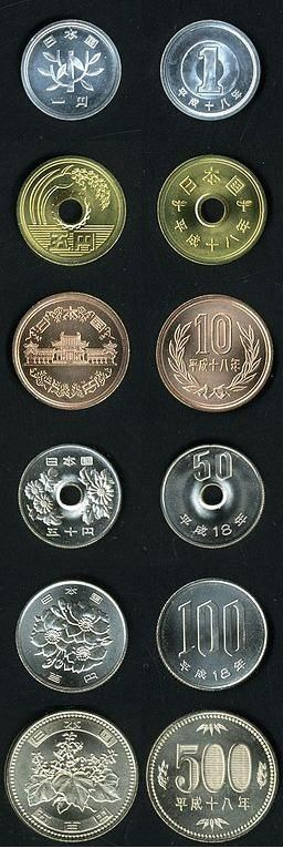Japanese coins. The 1-yen coins at the top are made of aluminum and look and feel like play money, but they are important at the supermarket. The 5-yen coins have a hole in them but no Roman number on them. The 10-yen coins resemble British 1-pence coins in color and size.