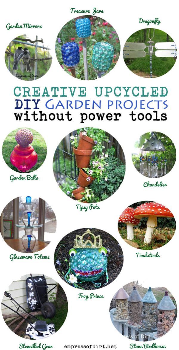 DIY garden art projects that do NOT require any power tools