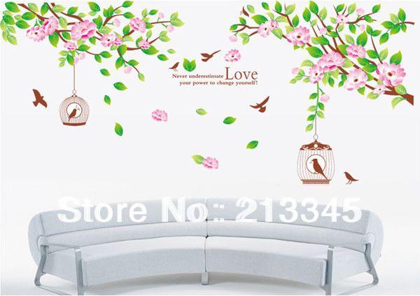 [Суббота Монополия] мода розовый съемный гибискус цветок клетка для птиц клетки для птиц и дерево настенная наклейка home decor стикер стены