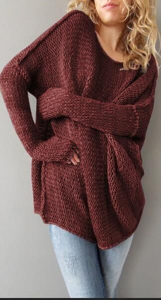 Long Sleeve Knit Pull Over Loose Sweaters