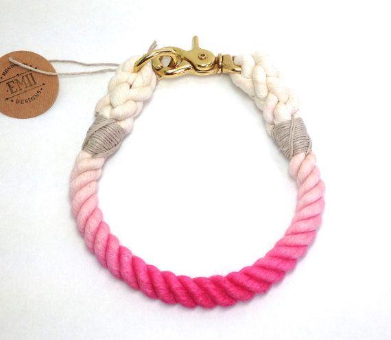 Ombre Rope Dog Collar  Non Choke Collar by EmiiDesignsStudio