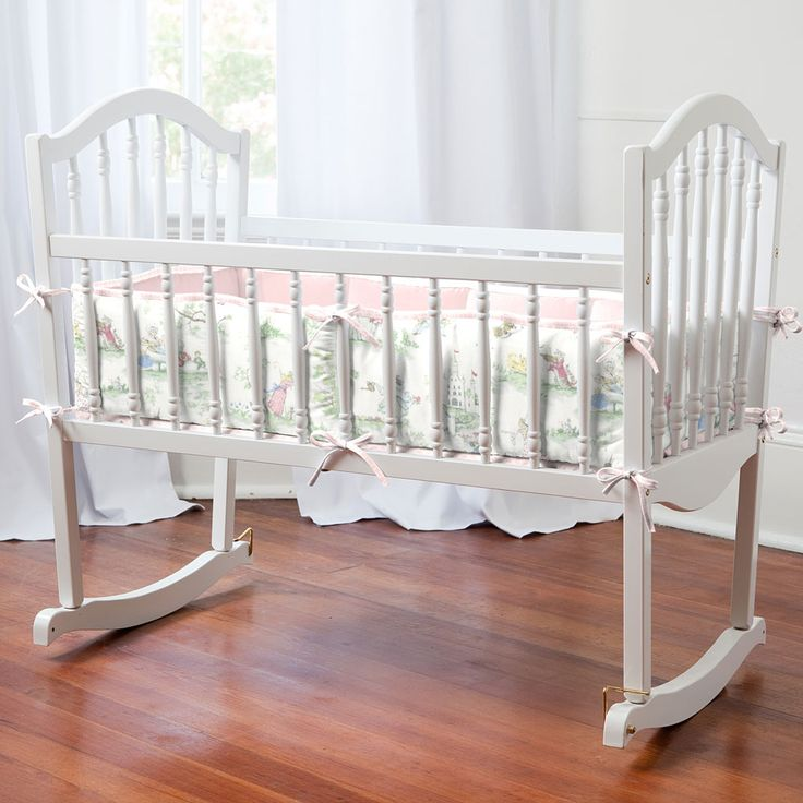Pink Over the Moon Toile Cradle Bedding by Carousel Designs.