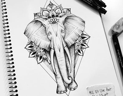 Elephant mandala tattoo commission