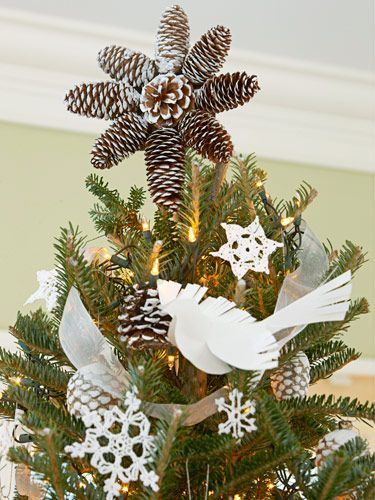 """Pinecone Tree Topper• 8 pinecones (about 4"""" long) • 1 small round pinecone for center • 4""""-diameter cardboard circle • Wood stick or skewer, 10"""" long • Hot glue • Artificial snow spray Christmas Party Themes - Christmas Decorating Themes and Crafts - Good Housekeeping"""