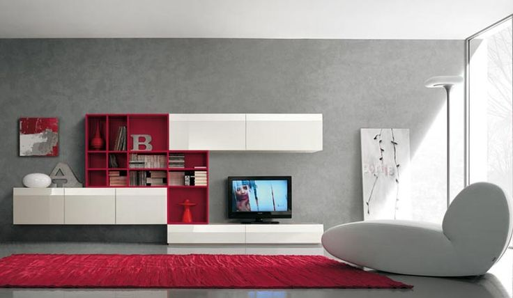 Modern TV Wall Units for Living Room Designs - Image 08 : White and Red Awesome TV Wall Mount