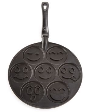 Start the day on a fun and yummy note with this Martha Stewart pancake pan, featuring seven smiley faces that immediately lighten the mood. | Cast aluminum | Hand wash | Made in USA | Approximate dime