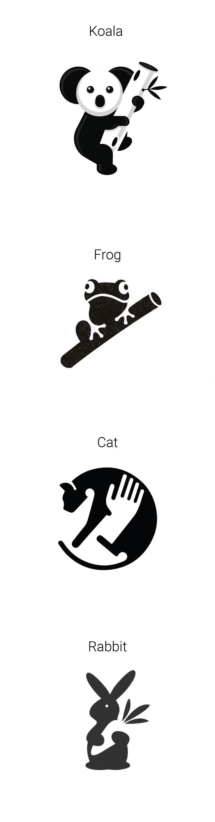 Four creative animal negative space logo designs, Best