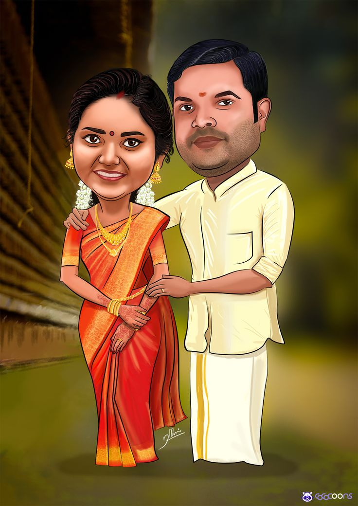 Hindu wedding caricature custom caricatures illustration