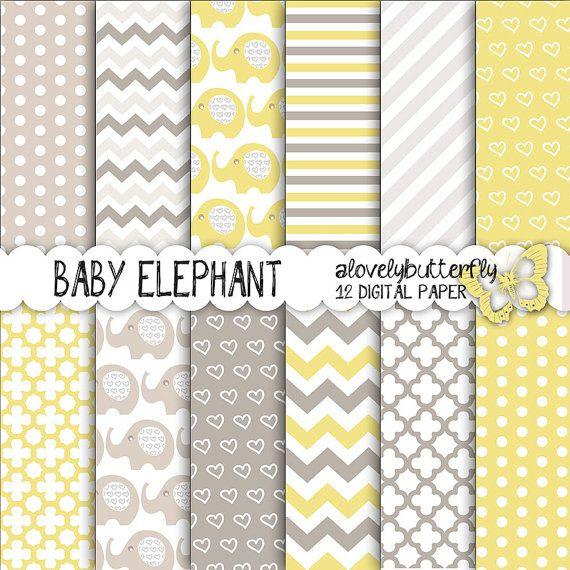 Jaune gris éléphant papier numérique, kit bébé de papier ...