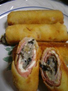 Sugerencia para la cena: Rollito de jamón y queso relleno de champiñones acompañada por una ensalada