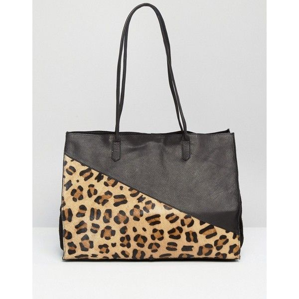 ASOS Leather And Faux Pony Shopper Bag (£44) ❤ liked on Polyvore featuring bags, handbags, tote bags, multi, leather tote shopper, leather shopper tote bag, leather tote bags, shopper tote and shopping tote bags