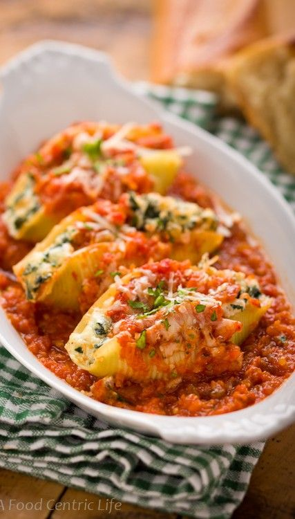 Kale and Ricotta Stuffed Shells|AFoodCentricLife.com