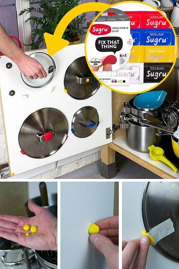 Pâte Sugru pour gagner de la place dans les petites cuisines http://www.homelisty.com/solutions-petite-cuisine/