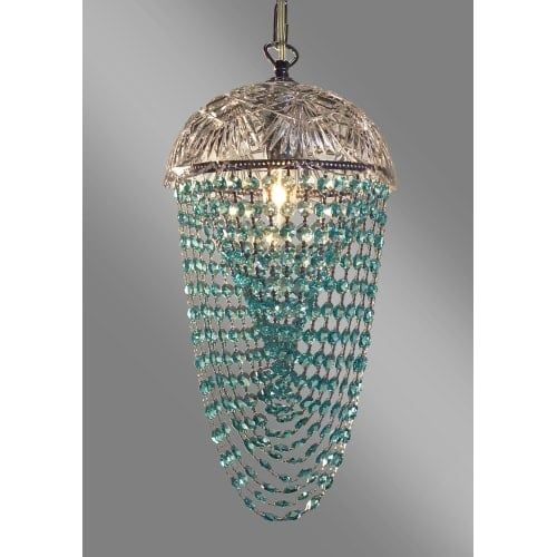 Classic Lighting 8224-CH Prague 1 Light Pendant with Crystal Accents (Incandescent - crystalique-plus clear / pink (Crystalique-Plus Clear/Pink))