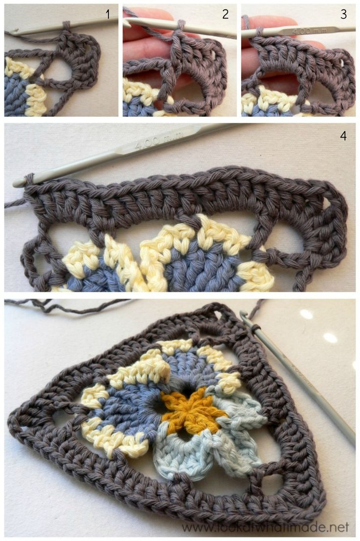 Crochet Pansy Triangle Round 2 Grannys Pansy   Crochet Bunting or great for flipflops